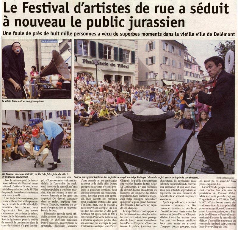 article de presse Le Jura magicien Lelouchier